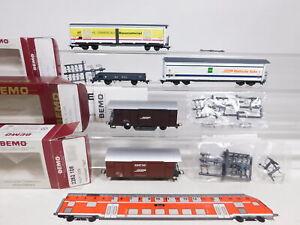 CU779-0,5# 5x Bemo H0m/DC Güterwagen, Mängel/abgeändert, RhB: M1 + Gbk-v etc