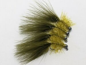 4ea. Jigged Euro streamers size #10 in Olive. Great Euro Anchor Fly.