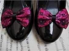 HOT PINK SATIN BLACK FLORAL LACE SHOE CLIPS GLAMOUR BOWS 40s 50s VINTAGE STYLE