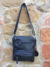 Leather Messenger Bag Black Front Pocket - Borsello in pelle nero tasca frontale