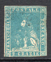 Tuscany (Italy) 2 Crazie Stamp c1857-59 Used (2 small tears) (3409)