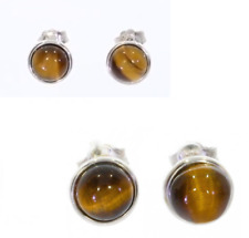Earrings Studs Stone Tiger Eye & Solid Silver Rhodium 925/1000