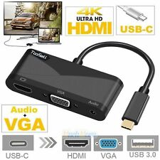 USB 3.1 Type C to HDMI 4Kx2K VGA + Audio Adapter HDMI 4K HDTV Converter Cable US