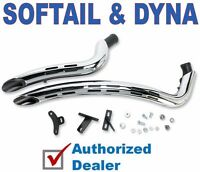 New Bassani Chrome & Black Radial Sweepers Exhaust Pipes Hole Heatshields Harley