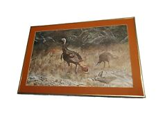 """Vintage J Keese Professionally Framed Wild Turkey Painting Lithograph LG 20""""x30"""""""