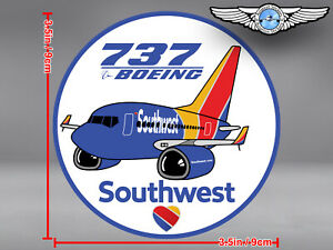 SOUTHWEST AIRLINES SOUTH WEST SWA PUDGY BOEING B 737 B737 ROUND STICKER / DECAL