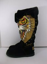 Ed Hardy New Knee High Suede Boots Tiger Design Studs side Zip Box Nordstroms