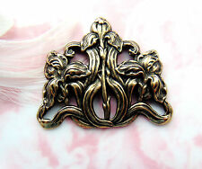 ANTIQUE BRASS Iris Flower Stamping - Oxidized Floral Spray Findings (FB-6045)