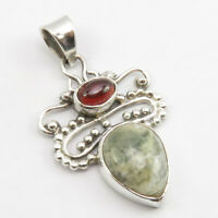 "925 Sterling Silver Genuine Garnet, Ocean Jasper Necklace Pendant 1.7"" Women Art"