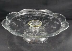 Vintage Pressed Glass Footed Cake Stand Plate - Floral Motif - Scalloped Edge