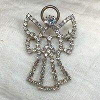 Silver Angel Open Sparkly Pin Brooch