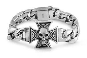 Skull Head Bracelet Stainless Steel Black Antique Link Toggle Clasp 15mm Width