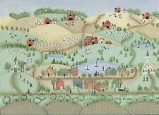 AMERICANA SCHOOL FOLK ART FARM GARDEN HOUSES SHEEP COW SAIL BOAT CHURCH PAINTING