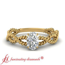 .75 Ctw Oval Shape Diamond Solitaire Infinity Engagement Ring In 18K Yellow Gold