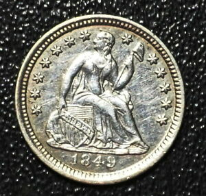 1849-P SEATED LIBERTY HALF DIME NORMAL DATE  US SILVER COIN CLEANED AU DETAILS