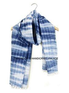 Indien Bleu Indigo Tie And Dye Écharpe Long Coton Doux Cou Tête Drapé Ethnique