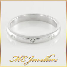 Ladies 3 x 0.01ct Diamond Solid White Gold Band Ring 18K 18kt 18ct Sz K 2.54g