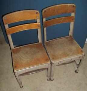 "Lot of 2 Envoy CHILD School 22"" STEEL 11"" WOOD Seat Vintage CHAIRS"