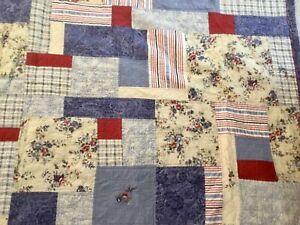 Americana Patchwork Quilt Denim Stripes Plaid Red White Blue Roses King 95 X 108