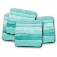 4 Set - Turquoise Wood Coaster - Beach Decking Green Blue Vintage Gift #15029