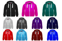 Unisex/Boys/Girls/Kids Children New Plain Zipped Hooded Top Jacket Hoodies 1-13