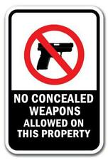 """No Concealed Weapons Allowed On This Property Sign 12"""" x 18"""" Heavy Gauge Signs"""