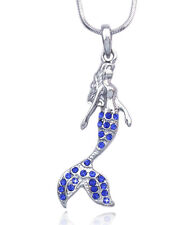Fairytale Royal Blue Crystal  Mermaid Pendant Necklace Girl Jewelry Gift Box