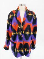 Vtg Womens Colorful Fleece Oversized Southwest Blanket Aztec Blazer Jacket Sz L