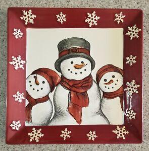 "ST NICHOLAS SQUARE YULETIDE SNOWMAN SERVING COOKIE DISH CHRISTMAS PLATE  10X10"""