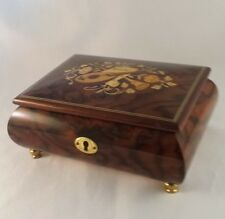 VINTAGE REUGE MUSIC JEWELRY BOX Italy WOOD INLAID Floral Musical Instruments