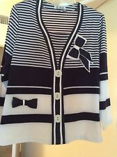 Miss Lida Beautiful Design Looklike Cardigan Sweater 75% Cotton Blue/White
