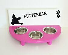 Hundebar Napfbar, Futterbar, 3 Näpfe, weiß/pink. Französische Bulldogge (9gr)