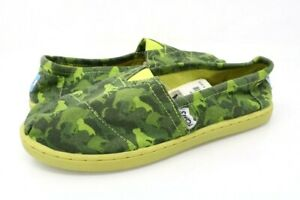 Toms Boys Size Y4 Classics Loafer Shoes Green Camouflage Low Top Slip On New