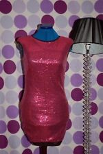 New  10 Berry Pink Sequin Mini Dress Open Back Xmas