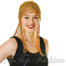 EGYPTIAN GOLD BEAD HEADPIECE HAIRPIECE HAT 20S CLEOPATRA FANCY DRESS ACCESSORY