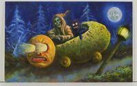 KIRSCHT Halloween NIGHT RIDER SHIVERBONES #9/30 Signed Limited Emb Postcard C21