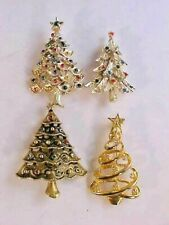 Christmas Tree Brooches Lot of 4 With Rhinestones 2 UnMarked 1 JJ 1 Gerry's Used