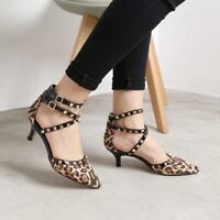 Womens Leopards Sandals Rivets Ankle Straps Pointed Toe Stilettos Med Heels S752