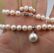 "7-8mm White Akoya Cultured Pearl & Shell Pearl Pendant Necklace 18""AA"