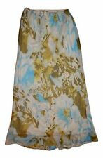 """Chadwicks Women's Size 10T Tall 40"""" Long Blue Floral Lined Pull-on A-Line Skirt"""
