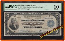 "JC&C - Fr.767 Series of 1918 $2 FRBN Chicago , IL ""Battleship"" - PMG VG 10"
