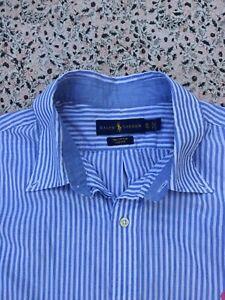 RALPH LAUREN - Blue-White - Striped - Cotton - Button Cuff - Shirt - XL