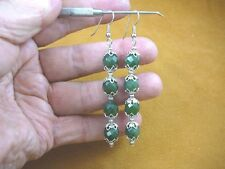 (ee405-17) 10 mm Green Jade Canada gemstone 4 bead + silver caps dangle earrings