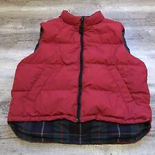 Eddie Bauer Reversible Down Puffer Vest Red Plaid Men's Size Large