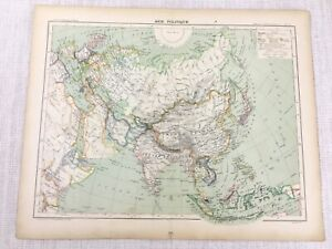 1898 French Map of ASIA Far East The Orient Political 19th C Antique Original