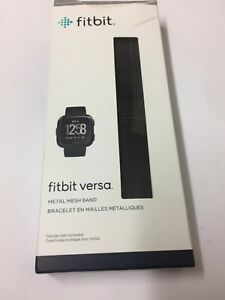 Genuine FITBIT Versa Stainless Steel Metal Mesh Band-Black (No Tracker Included)