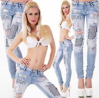SEXY HÜFT JEANS HOSE DESTROYED LOOK FETZEN RISSE STRASS APPLIKATION XS-XL