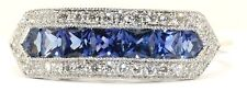 18ct. ORO bianco Art Deco Stile Zaffiro E Diamante Anello di cluster.