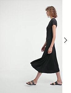 NWT $ 200 COUNTRY ROAD  Stretch Crepe Midi Ankle Dress   BLACK  XXS  XS  S  L XL