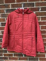 LANDS END Red Hooded Quilted Jacket Size 10-12 Medium Petite Coat